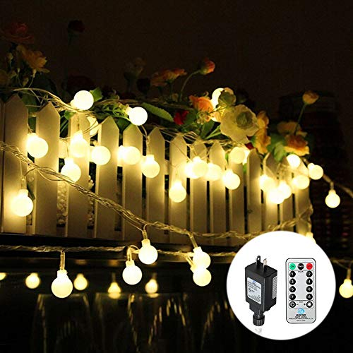 Tomshine Globe String Lights with Remote Timer 44ft 100 LED Dimmable Plug in String Light Outdoor Decorative Waterproof Fairy Lights for Bedroom Patio Garden Party Xmas Tree Wedding Warm White