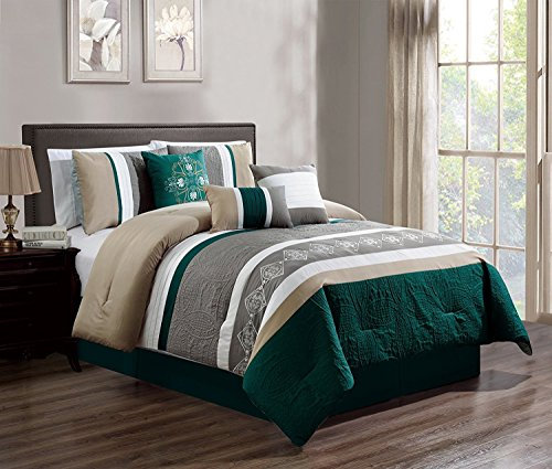 JBFF 7 Piece Luxury Embroidery Bed in Bag Microfiber Comforter Set (Teal, Cal King) ()