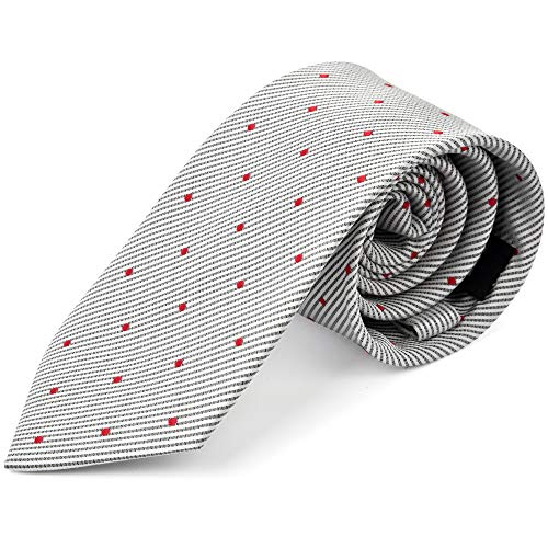 Ike Behar Boys 52'' Grey And Red Poka Dot Tie by Ike Behar (Image #4)
