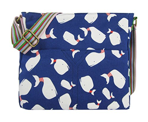 Whale Bag Handbag Kukubird Flower Blue Shoulder Various Dark Tote Crossbody Animal Handle Design Top And qP6rvq