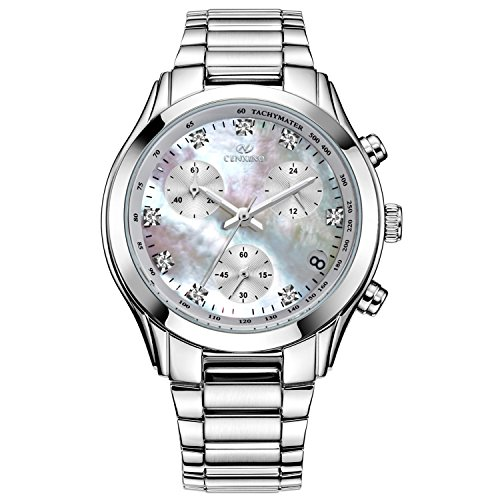 Mother Of Pearl Womans Watch (CENXINO Women's Leisure Classic Chronograph Wrist Watches with Date Calendar and Stainless Steel Band (White))