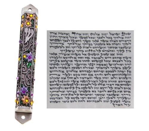 Pewter Mezuzah With Kosher Scroll Mezuza Case Jewish Hebrew Judaica Gift