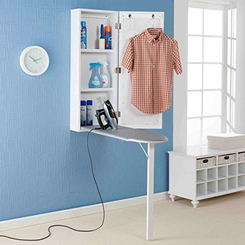 Upton Home Space-saving Wall-mounted White Finished Ironing Board and Storage Center (42 Inches High 16 Inches Wide X 7