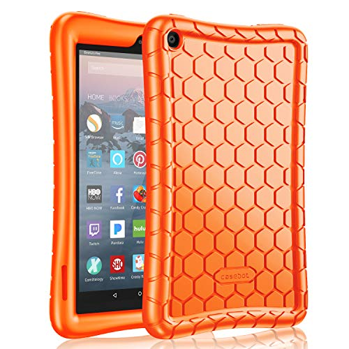 Fintie Silicone Case for All-New Amazon Fire 7 Tablet (9th Generation, 2019 Release) - [Honey Comb Series] [Kids Friendly] Light Weight [Anti Slip] Shock Proof Protective Cover, Orange (7 Tablet Cases Orange)