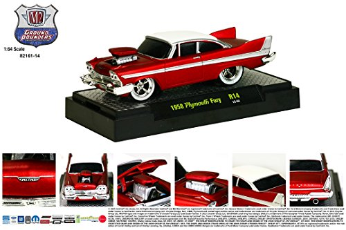M2 Machines 1958 PLYMOUTH FURY (Red/White) Ground Pounders Release 14 * 2015 Castline Premium Edition 1:64 Scale Die-Cast Vehicle (R14 - Plymouth Fury Set