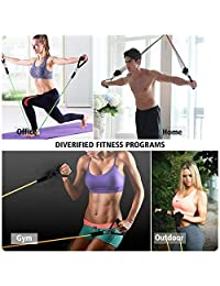 11PCS Resistance Bands Set Include 5 Stackable Exercise Bands with Door Anchor, Handles, Ankle Straps, Carry Bag & Guide, Workout Bands for Resistance Training, Physical Therapy, Home Workouts, Yoga