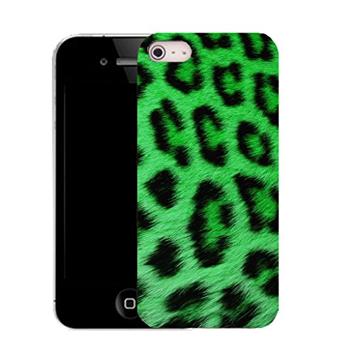 Mobile Case Mate IPhone 4s clip on Silicone Coque couverture case cover Pare-chocs + STYLET - GREEN LEOPARD pattern (SILICON)