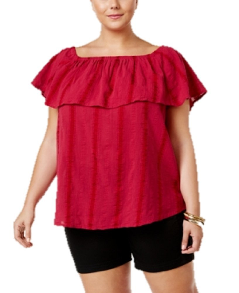 Style & Co. Womens Plus Textured Embroidered Casual Top Pink 0X