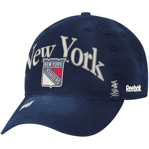 - NHL Reebok New York Rangers Garment Wash Adjustable Slouch Hat - Navy Blue