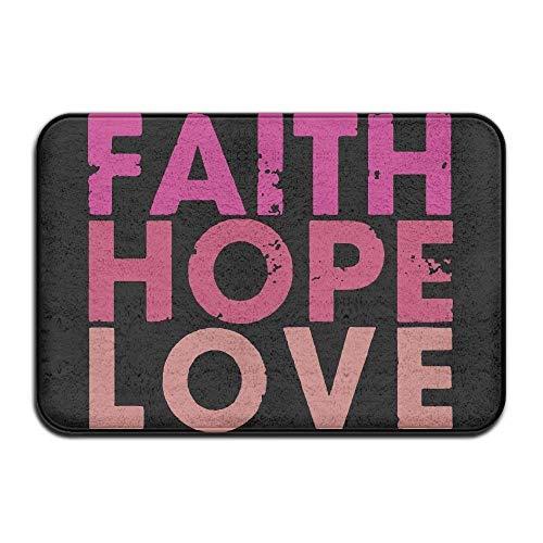 Debigkco Faith Love Hope Non-slip Indoor/Outdoor Door Mat Rug Health Wellness Toilet Bathroom Doormat 23.6''x 15.7'' by Debigkco