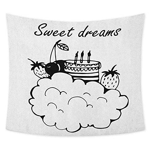 Grateful Dead Birthday Cake (jecycleus Sweet Dreams Grateful Dead Tapestry Doodle Style Birthday Cake with Berry Fruits on a Cloud Monochrome Design Wall Decor for Bedroom Tapestry W55 x L55 Inch Black and)