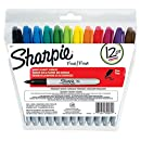 Sharpie Permanent Markers, Fine Point, Assorted Colors, Re-Sealable Pouch, 12 Pack