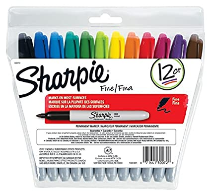 Sharpie Permanent Markers, Fine Point, Assorted Colors, Re-Sealable Pouch, 12-Count