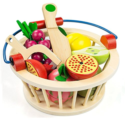Victostar Magnetic Wooden Cutting Fruits Vegetables Food Play Toy Set with Basket for Kids (Fruits) -