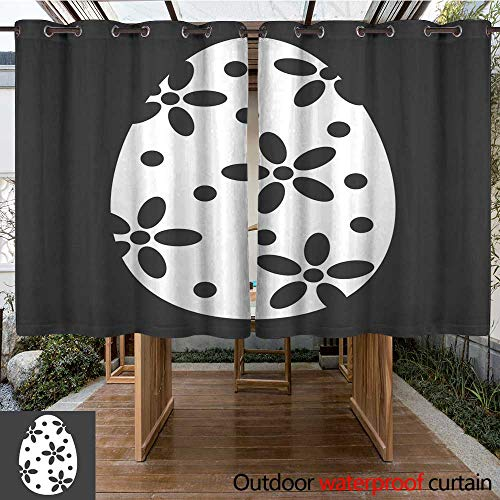 Eps Vector Sign - RenteriaDecor Outdoor Curtains for Patio Waterproof Easter Egg Glyph icon Easter and Holiday Celebration Sign Vector Graphics a Solid Pattern on a Black Background eps W84 x L72