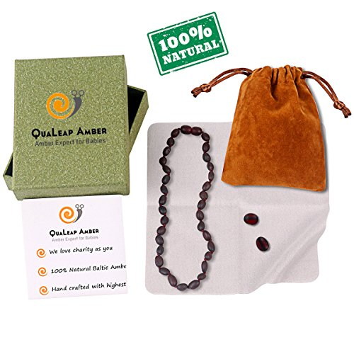 QuaLeap Amber Teething Necklace, 100% Raw Baltic Amber Baby Teething Necklace for Babies Teething Relief (Unisex - Cherry - 12.5 Inches) (Baltic Cherry)