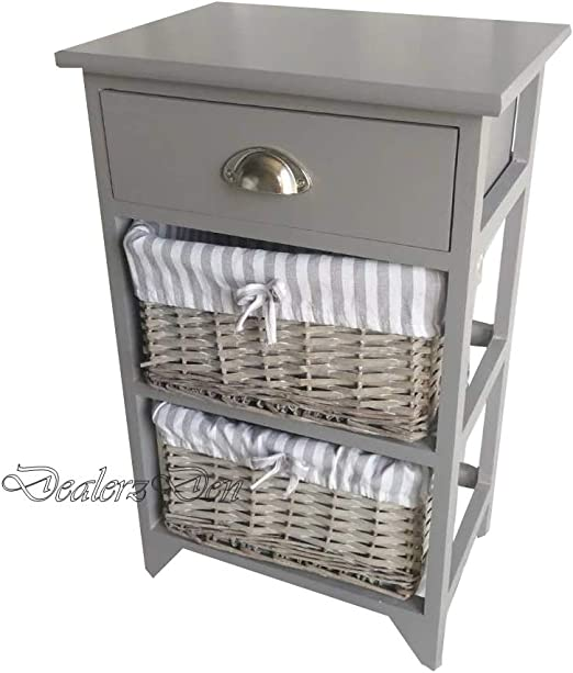 Wicker Basket Bedside Cabinet With 3 Drawers Shabby Chic Vintage Decor Storage