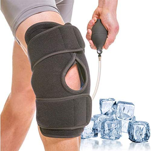 BraceAbility Knee Ice Wrap - Inflatable Cold Therapy Brace and BFST Cryo Cuff with Compression Air Pump and 2 Reusable Gel Packs for Post-Op Recovery, Torn Meniscus, Arthritis Pain (One Size)
