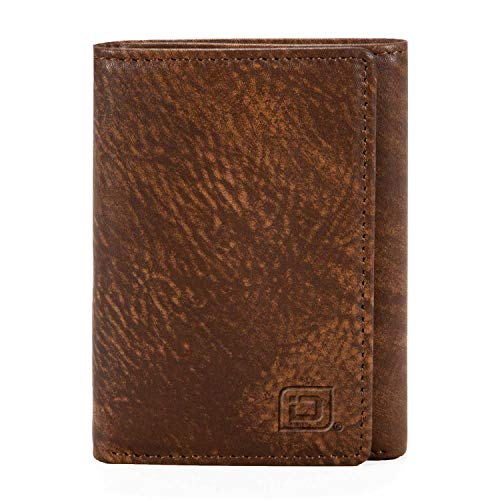 (Slim RFID Blocking Trifold Wallet for Men - Genuine Leather - Rough Rider Brown)