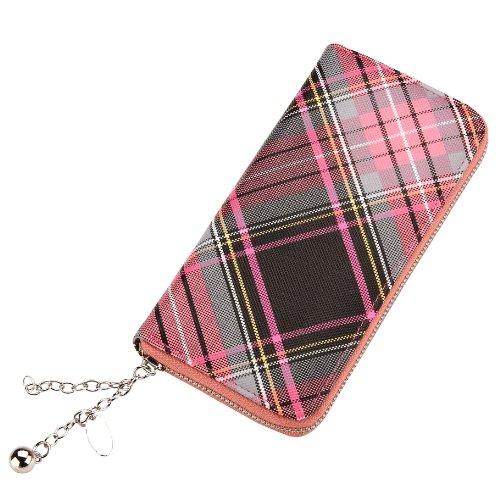 Funky Retro Diagnoal Scottish Tartan Stampa frizione borsa - Rosa
