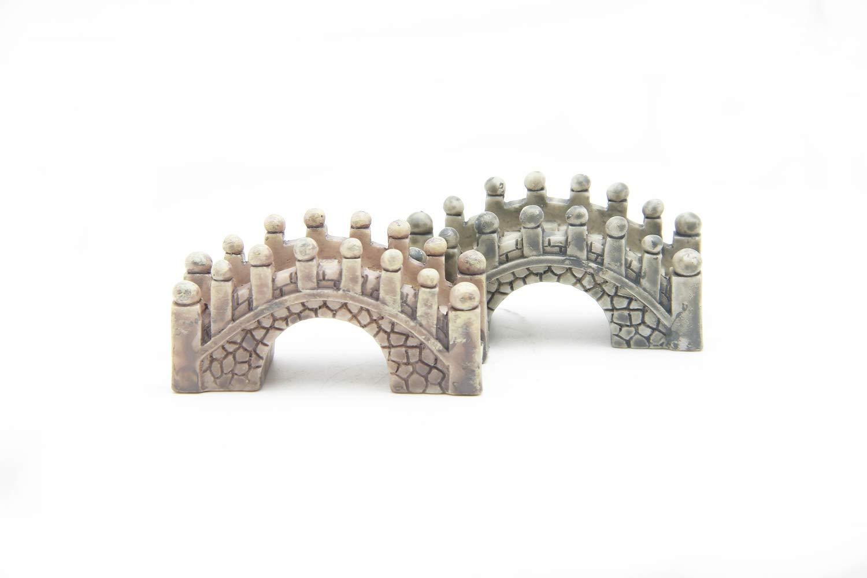 EDOBLUE Stone Arch Bridge Fairy Garden Kits Figurines for Miniatures Ornaments Fairies Gardens House Terrarium Kit Dollhouse Supplies DIY Outdoor Decorations Plant Pot Moss Micro Landscaping 2PCS