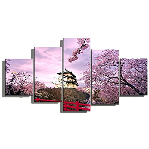 Panel Cherry Poster - PENGDA Canvas Wall Art 5 Panels Cherry Blossom Spring Flowers Painting On Canvas for Home Decor