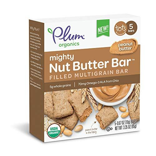 Plum Organics Mighty Nut Butter Organic Toddler Bar, Peanut Butter, 5 Count (Pack of 8)