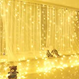 KOBWA Curtain Lights,300 LED Fairy String Lights with 8 Modes Remote Control for Window Curtain,Patio Lawn,Wedding,Party Decoration