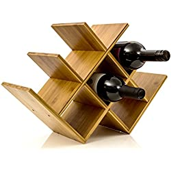 Intriom Wine Rack Wine Holder Wine Storage 8 Bottle Rack Horizontal Storage Compact Design Made of Organic Bamboo by Bamboo Collection