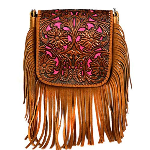 Montana West Genuine Leather Handcrafted Crossbody Handbag Purse Light Bundle (Brown Tooled Fringe w Charger)