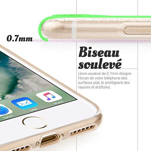 Coque pour iPhone 7 Case & iPhone 8 de chez YouSave Accessories [Mince & Poids-Plume]Avec Motif Mandala en Blanc [Souple & Flexible] sous forme protectrice en Gel TPU