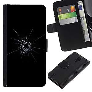 For SAMSUNG Galaxy S4 IV / i9500 / i9515 / i9505G / SGH-i337,S-type® Broken Glass Shattered Bullet Shot Black - Dibujo PU billetera de cuero Funda Case Caso de la piel de la bolsa protectora