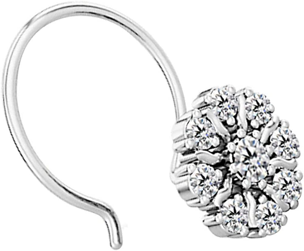 Dividiamonds Sim Diamond Flower Nose Pin for Womens /& Girls in 14K White Gold Plated 925 Sterling Silver