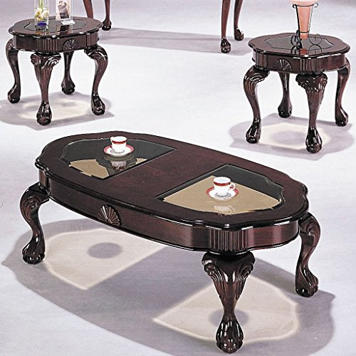 3 Piece Cherry Coffee Table (ACME Canebury Cherry and Glass Coffee End Table Set 3 Piece)