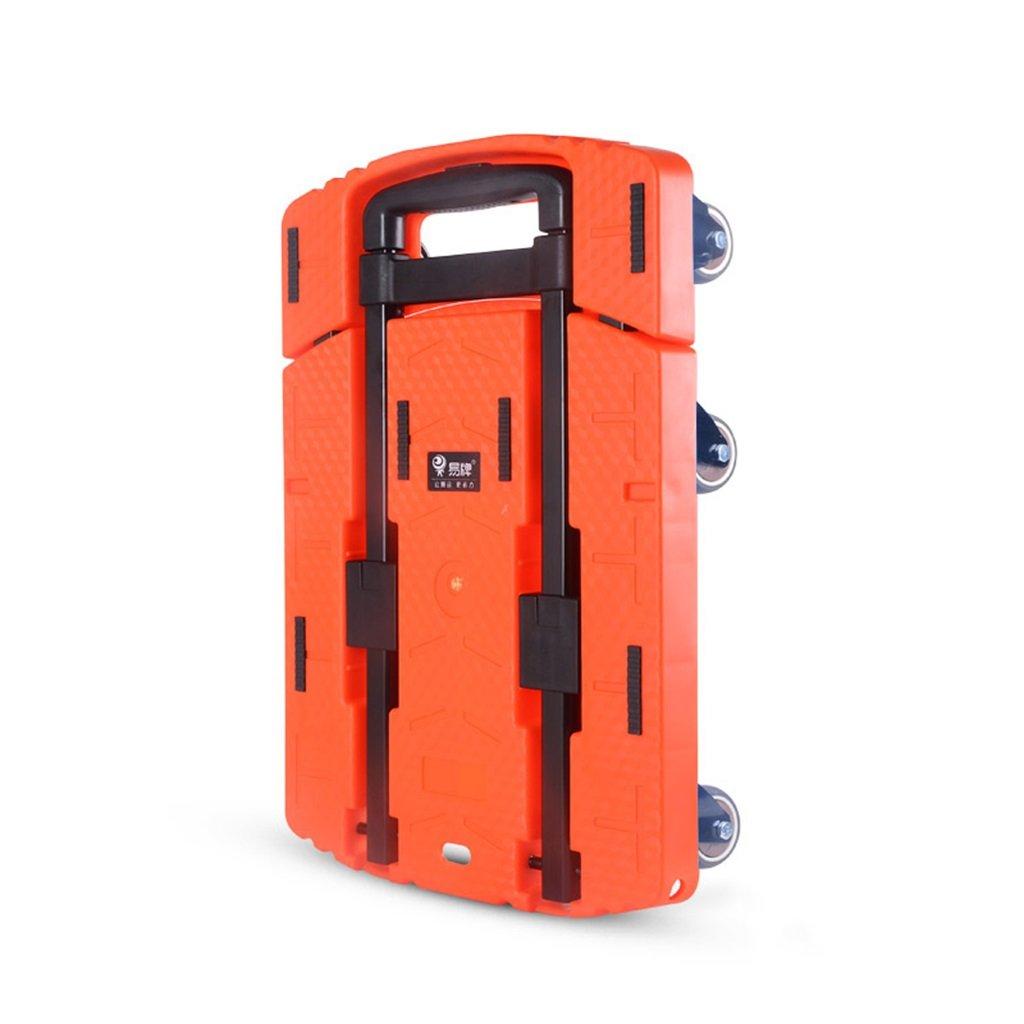 シュウクラブ@ 折りたたみ式ポータブル小型トレーラー家庭用引き出し式トラックキャリー付きフラットカートロード荷物用カートミュートトロリーハンドトラック (色 : オレンジ, サイズ さいず : #3) B07BHGQQPW #3|オレンジ オレンジ #3