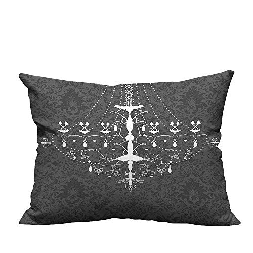 YouXianHome Lovely Cushion Covers Stylized Nostalgic Chandelier Damask Rococo Grey White Resists Stains(Double-Sided Printing) 16x16 inch