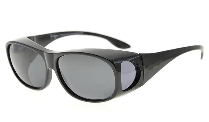 Eyekepper Gafas de sol polarizadas estilo retro fitover para anteojos recetados (Negro/Gris Lentes