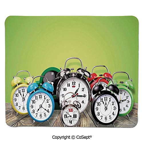Mouse Pad,A Group of Alarm Clocks on The Wooden Ground Digital Print Nostalgic Design,for Laptop,Computer & PC (7.87