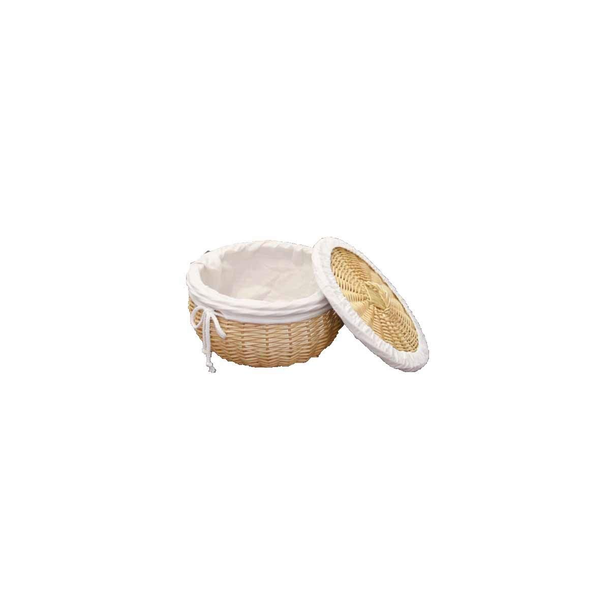 Tongboshi Bread Basket Rattan Steamed Bread Basket with Lid Insulation Wicker Bread Basket Home Restaurant Weaving Egg Basket Decoration Frame Round (Color : White, Size : M)