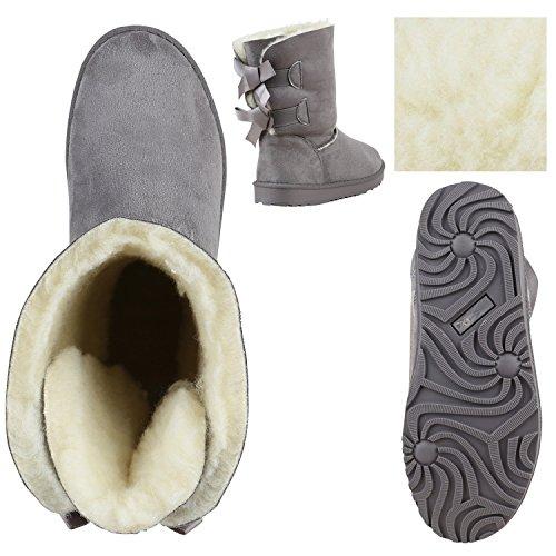 Damen Schlupfstiefel Warm gefütterte Stiefel Glitzer Boots Profilsohle Kunstfell Schuhe Strass Leder-Optik Stiefel Flandell Grau Schleifen