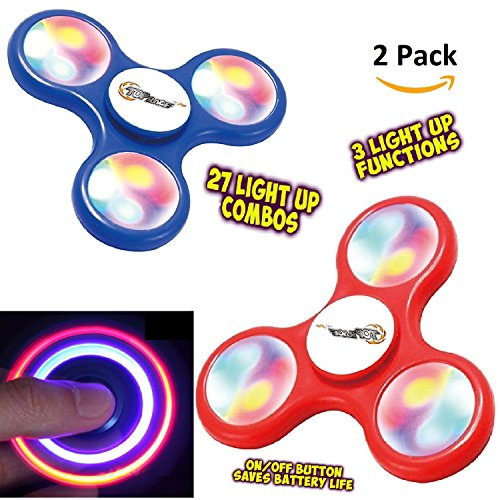 Finger Spinner Toy with LED Lights 2 Pack, Fidget Spinner With Beautiful LED Lights Red and Blue Set of 2 Led Spinner