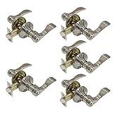 Gobrico 5 Keyed Alike Entry Lever Door Lock set Handle Entrance Lock with Same Key Satin Nickel Finished