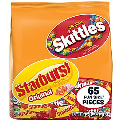 SKITTLES & STARBURST Halloween Candy Fun Size Variety Mx 31.9-Ounce Bag 65 Pieces