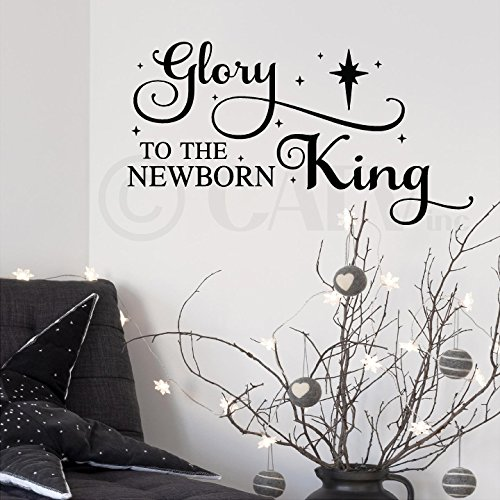 Leading Up To Christmas Quotes - Glory to the newborn King Christmas vinyl lettering wall decal sticker Christ quote Holiday decor with nativity star (Black)
