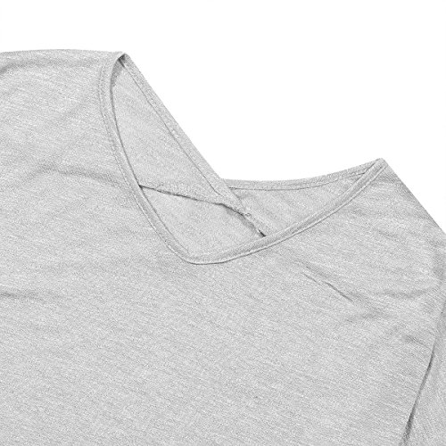 Split Side longues Elbow femmes t T l'automne Solid Patch femme patchwork QHDZ Chemise Neck manches shirt shirts Grey longue V IvP1qn