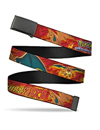 Buckle Down boys standard Buckle-down Web Belt - Pokémon Charizard Poses/Flames Reds