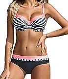 CFR 2018 New Sexy Bikini Swimsuit Low Waist Halter Push up Top Triangle Bikini Beach Wear Set Set Stripes - Pink,S