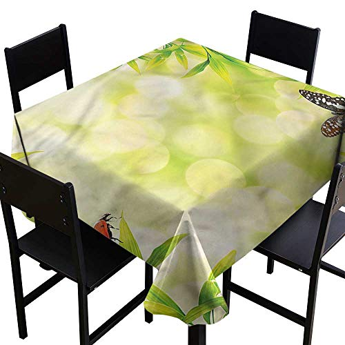 home1love Plant Resistant Table Cover Animals on Bamboo Stain Resistant, Washable 70 x 70 Inch -