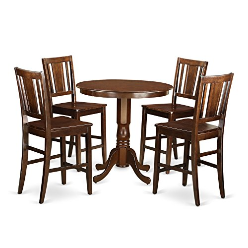 East West Furniture JABU5-MAH-W 5 Piece High Table and 4 Dinette Chairs Set