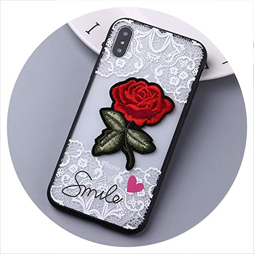 No Buy No Bye Art Rose Flowers Handmade Embroidery 3D Roses Phone Cases for iPhone 7 for iPhone 6 6S 8 8Plus X XS Max Capas Fundas Cases,4,for iPhone Xs Max (For Pizza Iphone 3d 4 Cases)